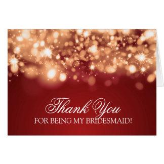 Thank You Bridesmaid Sparkling Lights Gold Greeting Card