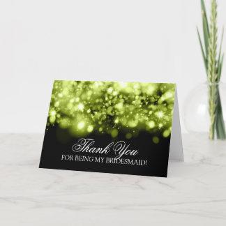 Thank You Bridesmaid Sparkling Lights Lime Black