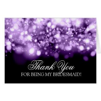Thank You Bridesmaid Sparkling Lights Purple Card