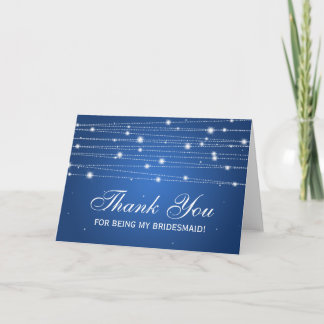 Thank You Bridesmaid Sparkling Lines Sapphire Blue