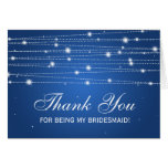 Thank You Bridesmaid Sparkling Lines Sapphire Blue Card