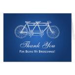 Thank You Bridesmaid Tandem Bike Blue Greeting Card