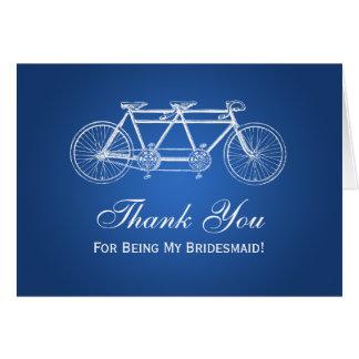 Thank You Bridesmaid Tandem Bike Blue Card