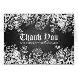 Thank You Bridesmaid Victorian Flourish Black Greeting Card