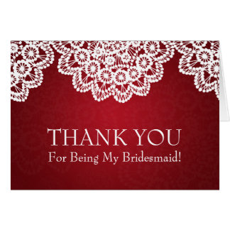 Thank You Bridesmaid Vintage Lace Red Greeting Cards