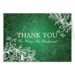 Thank You Bridesmaid Vintage Swirls Green Card