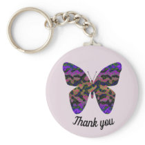 Thank You Bright Colorful Butterfly Appreciation Keychain