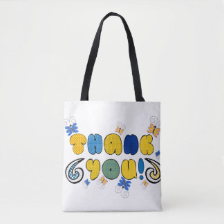 """""""Thank you"""" bright doodle design, kids drawing Tote Bag"""