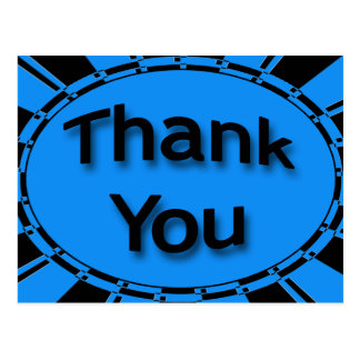 Thank You bright turquoise blue black Postcards