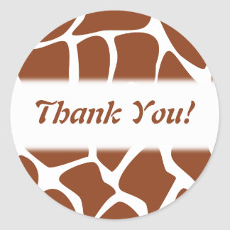Thank You. Brown and White Giraffe Pattern. Classic Round Sticker