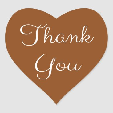 Professional Business Thank You Brown And White Heart Heart Sticker