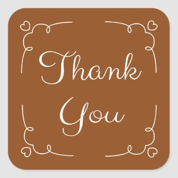 Professional Business Thank You Brown And White Heart Stickers / Seals