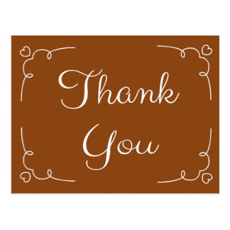 Thank You Brown And White Hearts Love Stickers Postcard