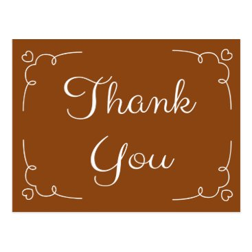 Professional Business Thank You Brown And White Hearts Love Stickers Postcard