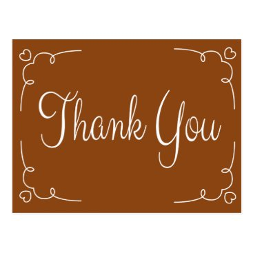 Professional Business Thank You Brown And White Hearts Postcard
