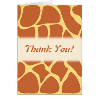Thank You. Brown and Yellow Giraffe Print Pattern. Greeting Card