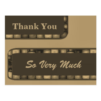 Thank You Brown Biege Tile Postcard