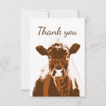 Thank You Brown Farm Cow Animal Blank Back