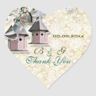 """thank you"" Brown pink bird floral country Heart Sticker"