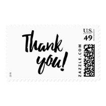 Thank You Brush Brushstroke Script Black White Postage