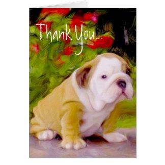 Thank you Bulldog puppy art greeting card