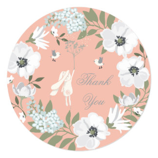 Thank You Bunny Floral Wreath Girl Baby Shower Card