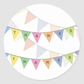 Thank You Bunting Banner Cupcake Topper Label Classic Round Sticker