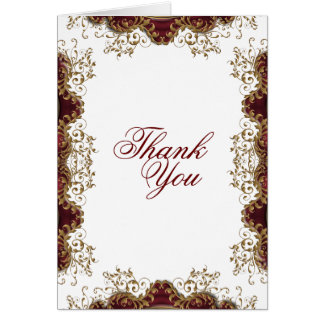 """Thank you"" burgundy vintage wedding Card"