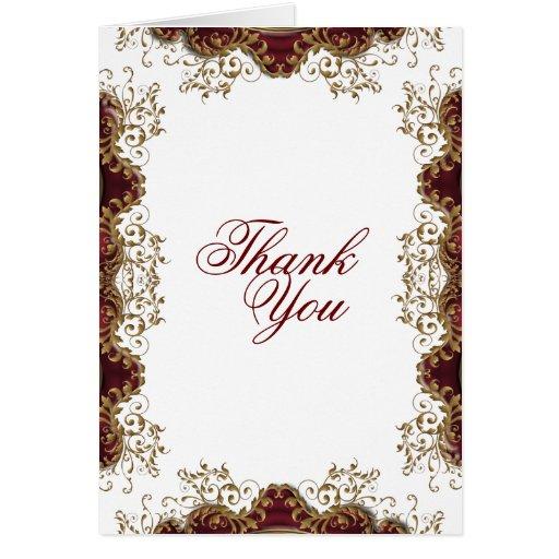 Thank You Burgundy Vintage Wedding Greeting Card