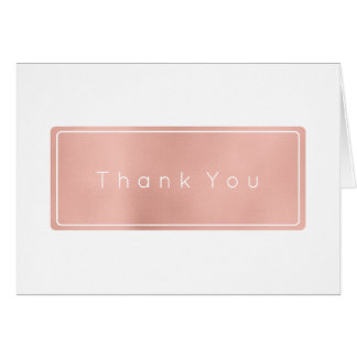 Thank You Business  Pink Rose Gold White Minimal Card