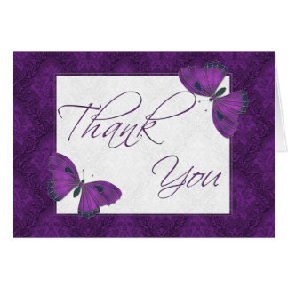 Thank You Butterfly Brocade Purple Stationery Note Card