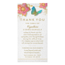 Thank You Butterfly Floral White Gold Sympathy Card