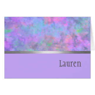 Thank You Card Abstract Purple Pink Blue Silver