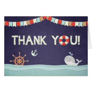 Thank you card Ahoy it's a boy nautical Ocean