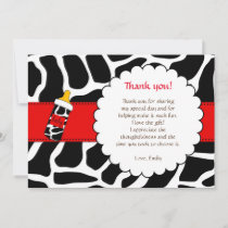 Thank you card animal print baby shower red