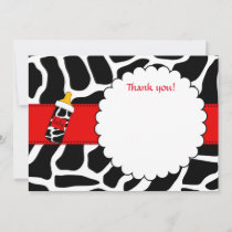 Thank you card animal print baby shower red blank