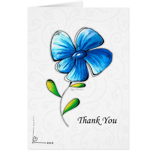 Beautiful Flower Thank You: Thank You Card Beautiful Simple Blue Flower Design