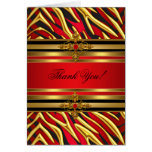 Thank You Card Birthday Party Red Zebra Gold Black