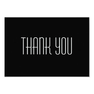 "Thank You Card-Black 5x3.5 Flat 3.5"" X 5"" Invitation Card"