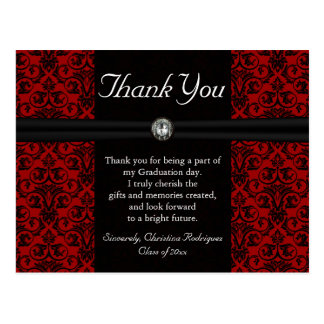 Thank You Card Black and Red Damask Jewel