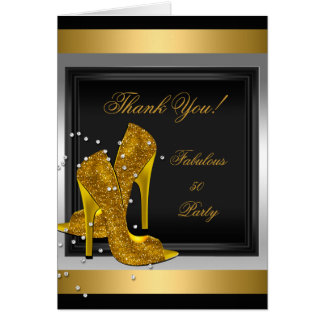 Thank You Card Black Gold High Heels Note Card