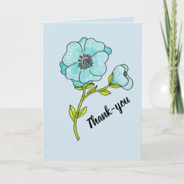 Thank you card Blue flower on blue