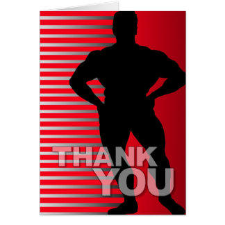 Thank You Card Bodybuilder Red Stripe