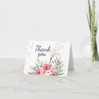Thank you card Brunch and Bubbly Champagne Floral