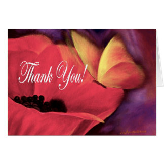 Thank You Card Butterfly Poppy - Multi