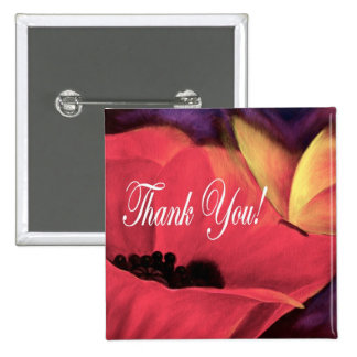 Thank You Card Butterfly Poppy - Multi Pinback Button