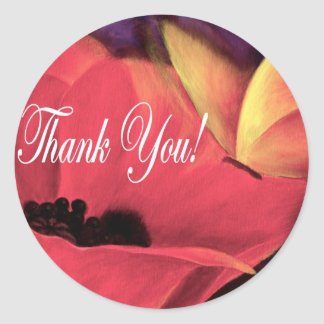 Thank You Card Butterfly Poppy - Multi Classic Round Sticker