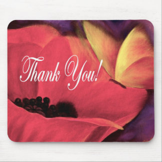 Thank You Card Butterfly Poppy - Multi Mouse Pad