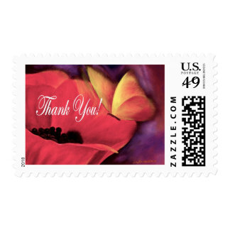 Thank You Card Butterfly Poppy - Multi Postage Stamps