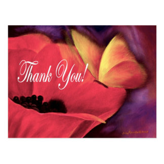 Thank You Card Butterfly Poppy - Multi Postcards